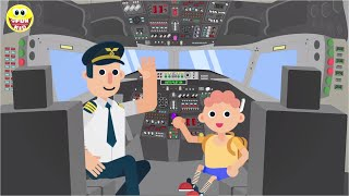 Fairy tale for children - planes and airport - fun and learning colors - cockpit of the plane