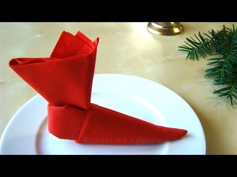 servietten falten weihnachten nikolaus nikolausstiefel. Black Bedroom Furniture Sets. Home Design Ideas