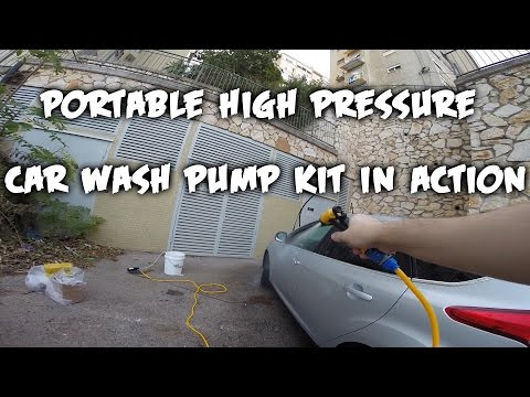Portable high pressure car wash pump kit in action