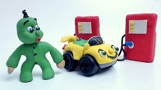 Green Baby BAY NEW CAR - Clay & Play Doh Stop Motion Cartoons For Kids