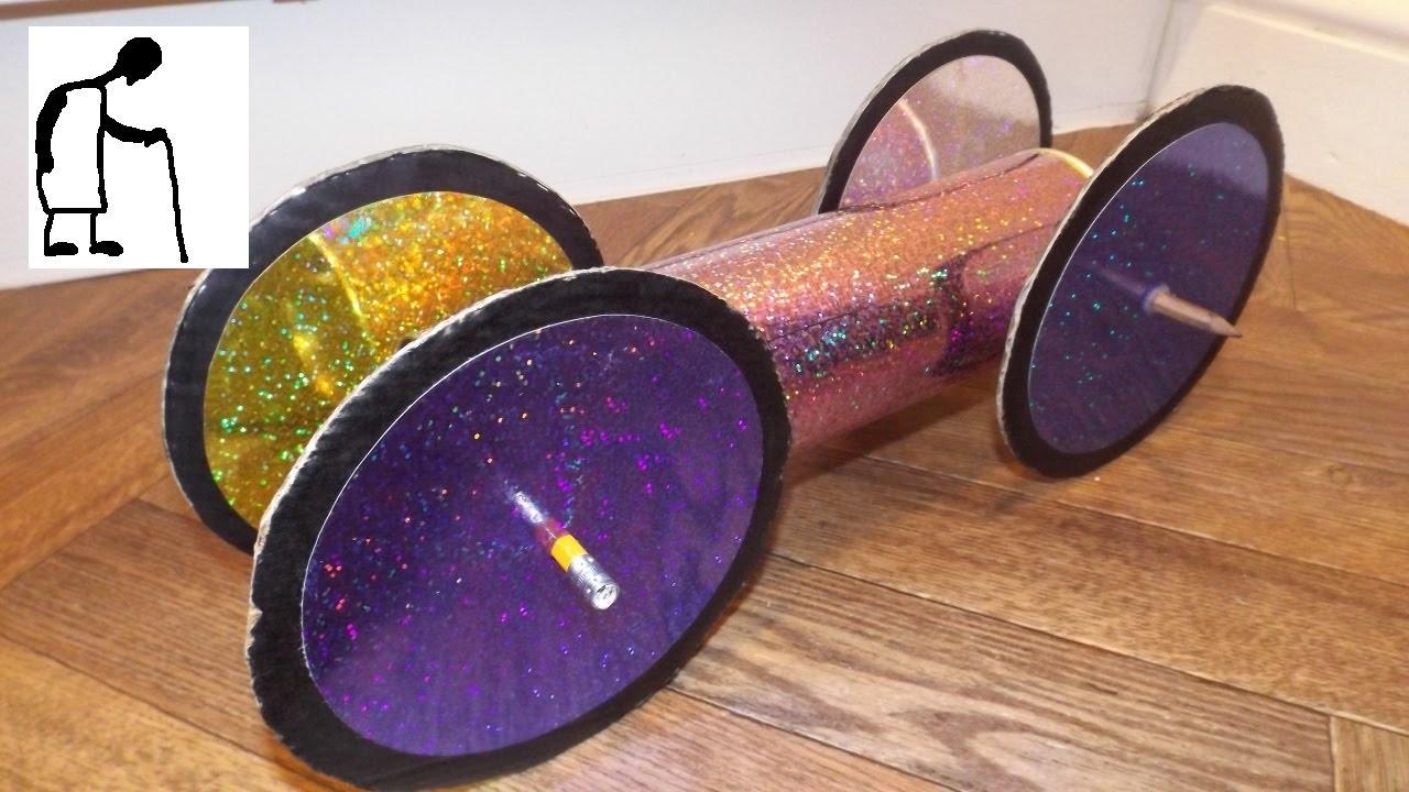 Rubber Band Powered Car Cardboard Crisp Tube And Wheels