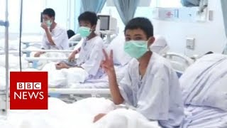 Thailand Cave rescue: First pictures of Thai boys in hospital - BBC News