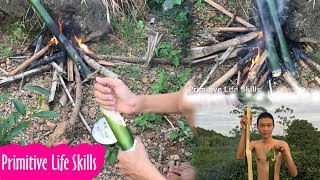 Primitive Life Skills: How to cook rice in bamboo - Primitive Technology