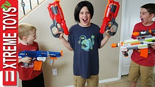 Crazy Ethan Clone Nerf Battle! Bad Copy From the Clone Machine Attacks Cole With Nerf Blasters!