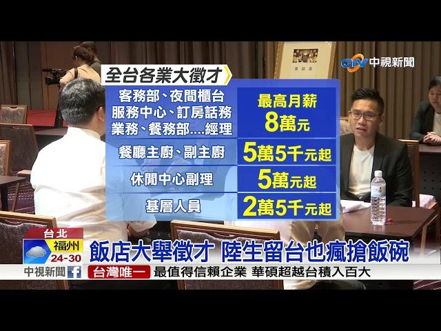 飯店擴大徵才450人 最高薪資上看80K