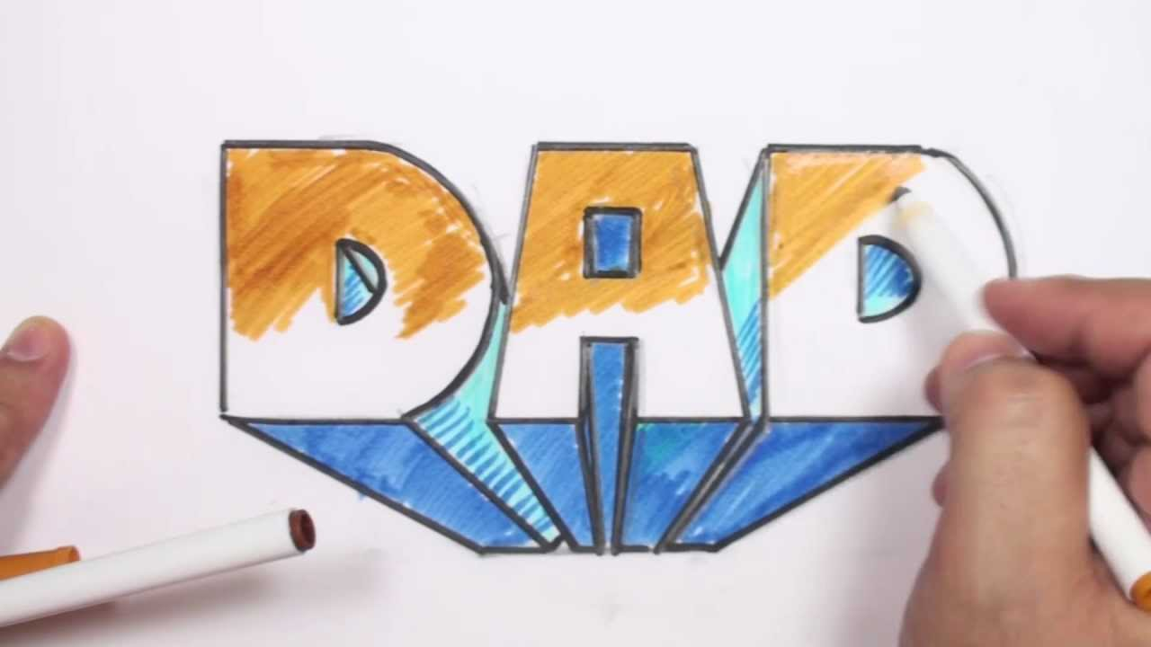 How To Draw 3d Block Letters Dad In One Point