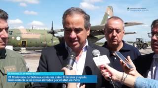 El Ministerio de Defensa envió un Hércules y ayuda humanitaria a Perú