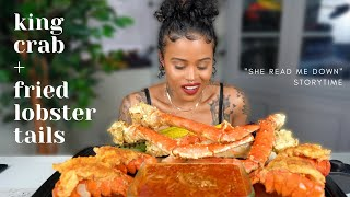KING CRAB + FRIED LOBSTER TAIL SEAFOOD BOIL MUKBANG + Girl. This weekend. STORYTIME
