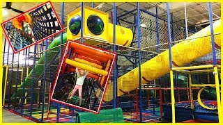 Playing at The Indoor Park Playground Play Place for Kids w/ Play Doh Girl and Baby Bro Blippi Doll