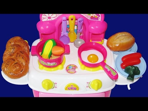 Toy Kitchen Velcro Fruit Vegetables Cooking Soup Baking