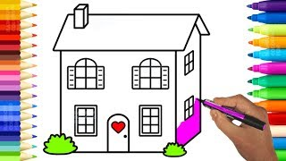 Cute Baby Doll House Coloring Pages - Learn Colors and Drawing for Kids