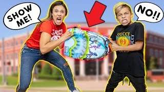 My MOM REACTS To What's In My SCHOOL BACKPACK!!! | The Royalty Family