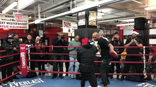 JERMELL CHARLO DEFENSIVE MITT WORK WITH DERRICK JAMES SHARP AND FOCUSED