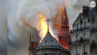 A fire engulfs Notre Dame cathedral