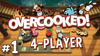 Overcooked - #1 - Save the World with Cooking!! (4 Player Overcooked Co-op Gameplay)