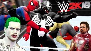 SPIDERMAN VS RED HULK VS IRON MAN VS HULK VS VENOM VS JOKER  - WWE 2K16