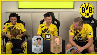 """""""My passing is ridiculous!""""   Haaland & Sancho rate their first ever FUT Card"""