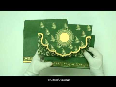 GREEN HANDMADE SILK SCREEN PRINTED WEDDING INVITATIONS : CD-8207L