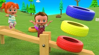 Little Baby Girl Fun Play Learning Colors for Children with Color Tires Bounce Seesaw Toy 3D Kids - YouTube