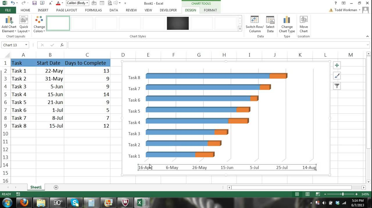 Microsoft Excel Gantt Chart Tutorial - How to Create a ...