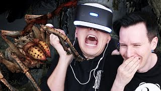 Dan (scared of spiders) explores a cave (literally full of spiders) - Skyrim VR!