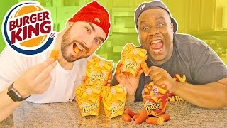 MAC AND CHEETOS BY BURGER KING Taste Test Reaction Challenge !