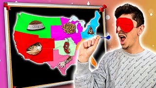 Throwing a Dart at a Map & EATING Whatever it Lands on - Challenge