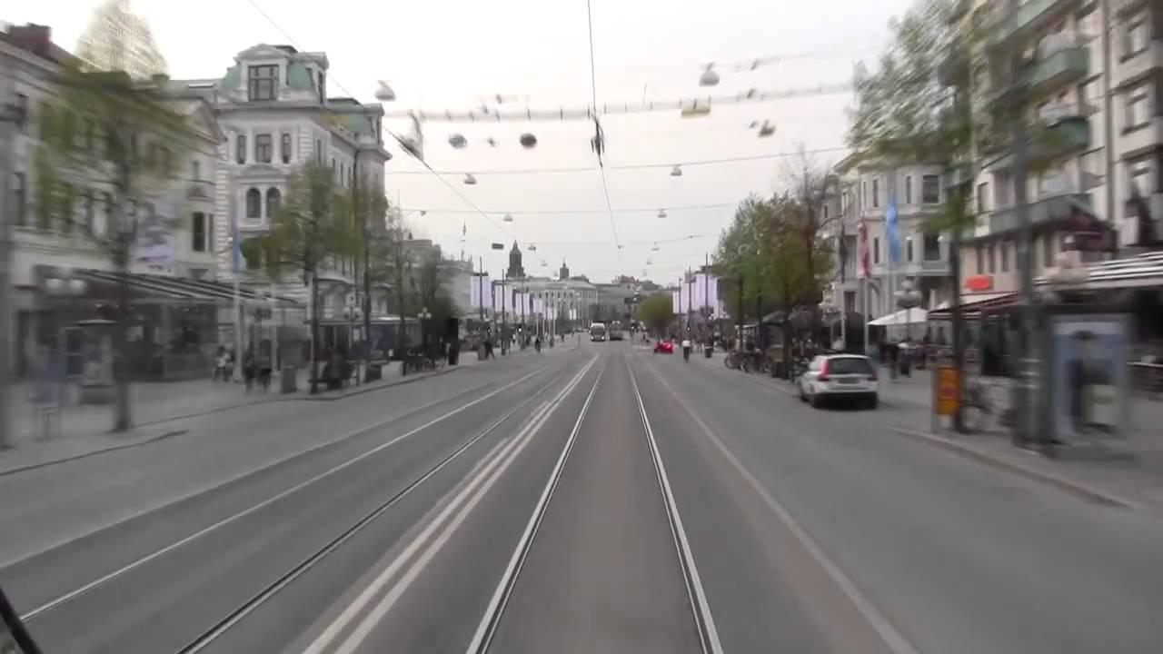 Spårvagn Linje 3 ( Tram line 3 in Gothenburg), hela turen på 10 minuter - YouTube