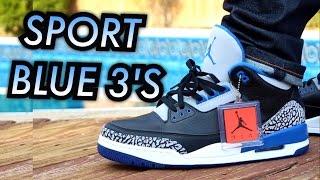 """Sport Blue"" Air Jordan 3 W/ On-Feet Review"