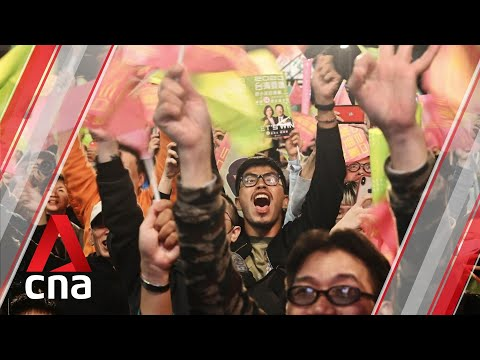 Supporters of President Tsai Ing-wen celebrate her Taiwan election victory