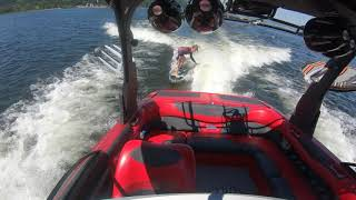 Young Polish Girl WakeSurfing behind a boat with no driver | ghost ride