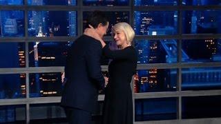 Helen Mirren stuns Colbert with surprise kiss