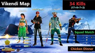 "[Hindi] PUBG Mobile   ""34 Kills"" In Vikendi Map Amazing Squad Fight Chicken Dinner"