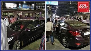 Drunk man drives car onto Andheri rly. station platform..