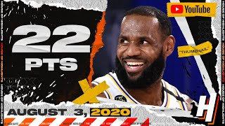 LeBron James 22 Pts 9 Ast 8 Reb Full Highlights | Lakers vs Jazz | August 3, 2020