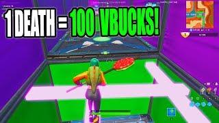 1 DEATH = 100 VBUCKS CHALLENGE! 50 Level Default Deathrun (Fortnite Creative)