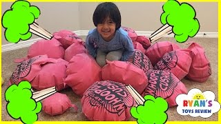 GIANT WHOOPEE CUSHION FART Challenge! Toys For Kids! Family Fun Children Activities Ryan ToysReview