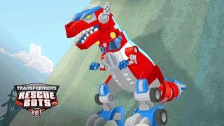 Transformers: Rescue Bots Season 3 - 'Optimus Prime's Primal Mode, T-Rex!' Official Clip