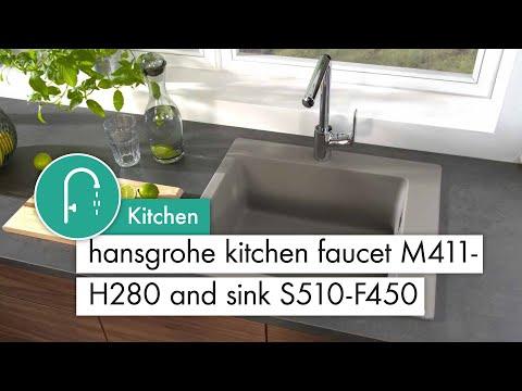 hansgrohe Kitchen mixer M411 H280 Sink S510 F450 concrete grey