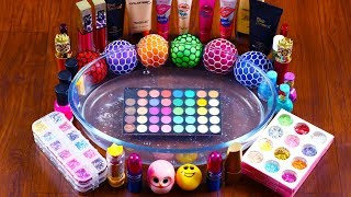 Mixing Makeup And Stress Balls Into Clear Slime!! Relaxing & Satisfying Slime Smoothie Video!!