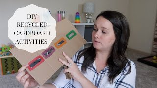4 SIMPLE DIY Toddler Activities using a Recycled Cardboard Box