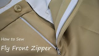 How to sew a fly front zipper Trousers Pants tutorial フロントファスナーの付け方・縫い方 縫製工場の洋裁教室
