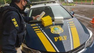 PRF prende traficante com 9 quilos de drogas escondidas na lataria do automóvel