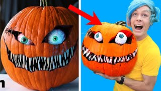 Trying TO CARVE A SIMPLE AND SCARY HALLOWEEN PUMPKIN FACE BY BOBBY DUKE ARTS!