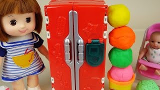 Play Doh Surprise eggs refrigerator and Baby Doll toys