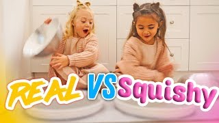 ULTIMATE SQUISHY FOOD VS REAL FOOD CHALLENGE! (BESTIES EAT IT!)