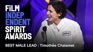 TIMOTHÉE CHALAMET wins Best Male Lead at the 2018 Film Independent Spirit Awards