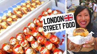 Best LONDON STREET FOOD at BOROUGH MARKET   London food market   British food + what NOT to eat