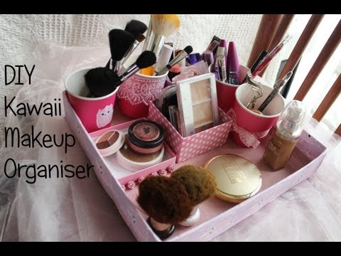 diy makeup organizer kosmetik organizer selber machen. Black Bedroom Furniture Sets. Home Design Ideas