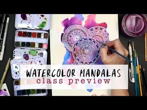 watercolor mandalas class preview